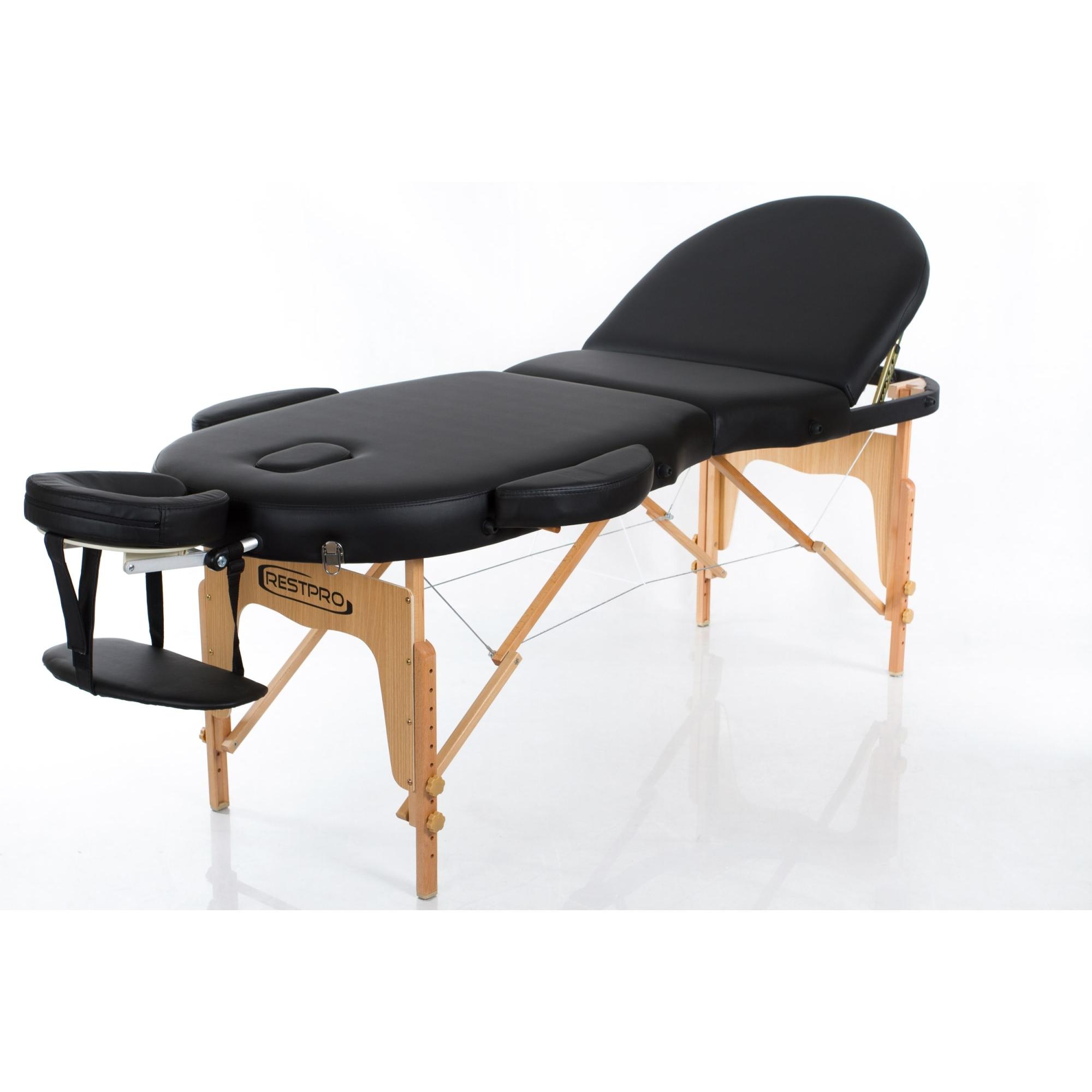 Sulankstomas masažo stalas Vip Oval 3 (Black)