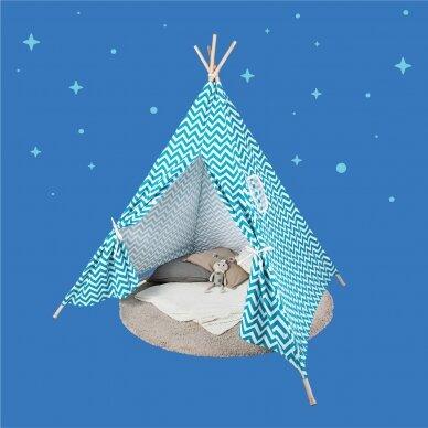 Tipi stila telts ar zaļu rakstu 7