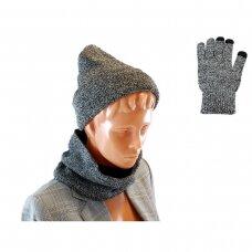 Kepurė, šalikas ir pirštinės (rinkinys) GREY SET