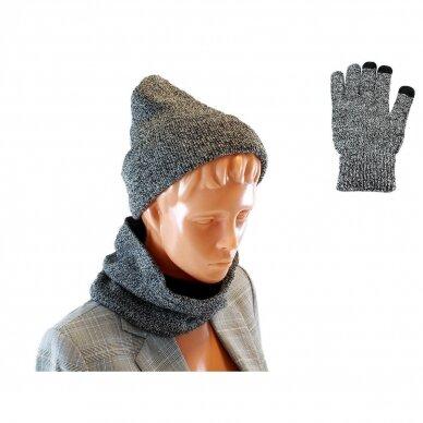 Cepure, šalle un cimdi (komplekts) GREY SET