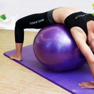 Violetinis gimnastikos kamuolys su pompa, 75 cm. 3