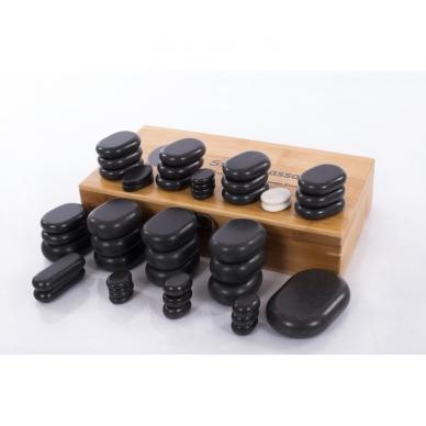 Vulkaninio bazalto masažo akmenų komplektas (45 akmenų)