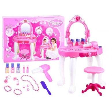 Roosa mänguasja tualettlaud aksessuaaridega tüdrukutele BEAUTY SALON